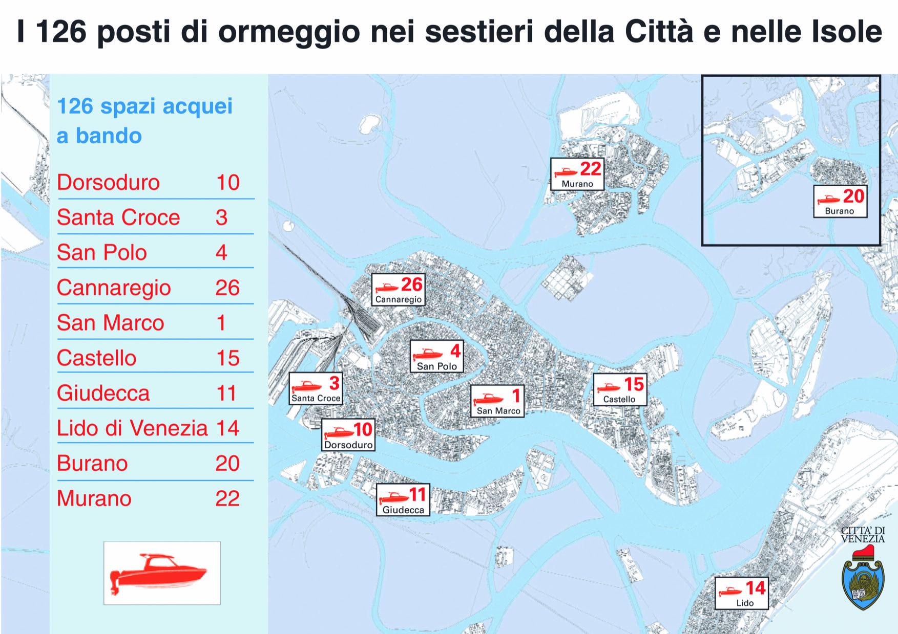 la mappa dei posti acquei a disposizione