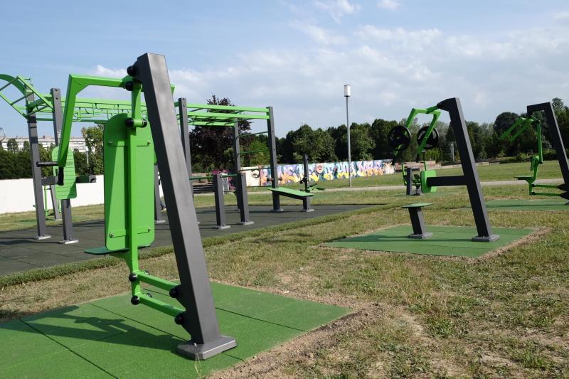 Dettaglio della nuova area fitness al Parco Albanese di Mestre