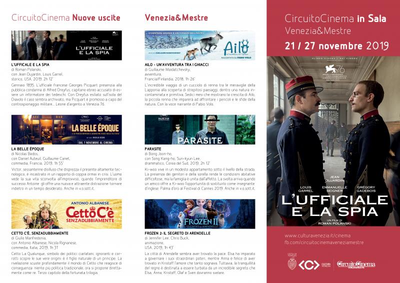 Film in programmazione dal 21 al 27 novembre 2019