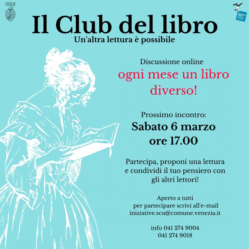 Locandina Clube del Libro! ogni mese un libro diverso, prossimo incontro sabato 6 marzo ore 17