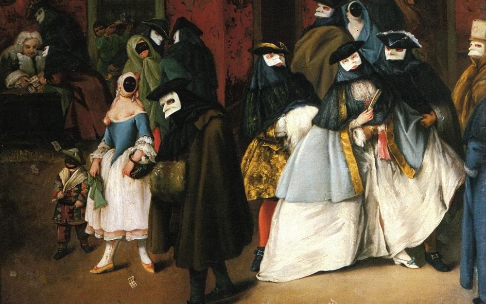 Quadro con maschere veneziane