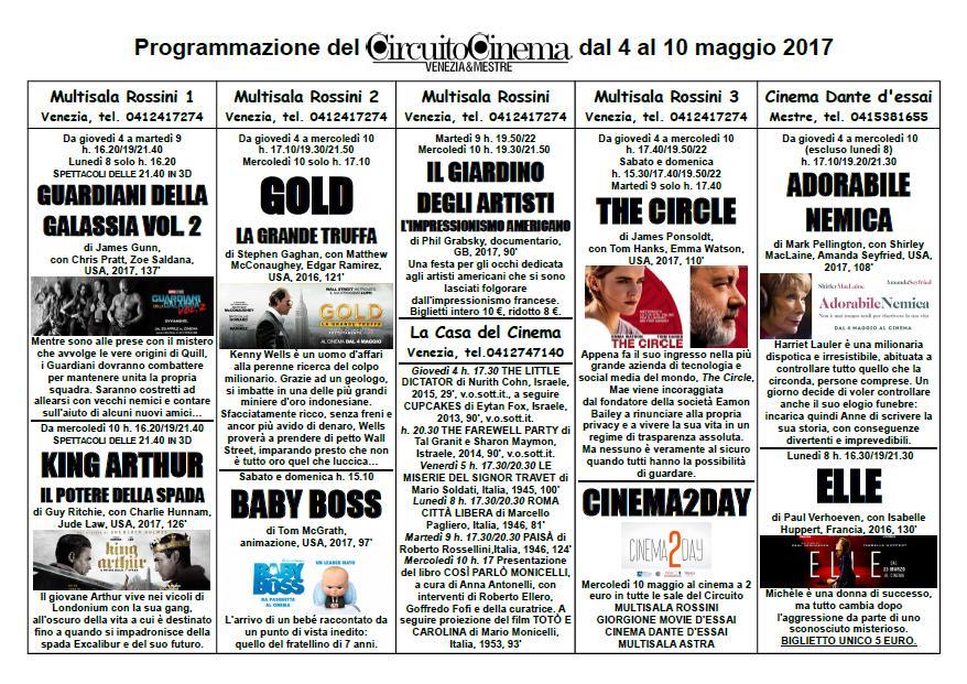 Circuito Cinema: programmazione dal 4 al 10 maggio 2017