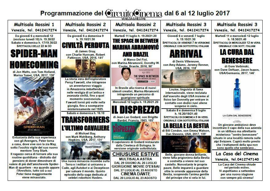 Programmazione dal 6 al 12 luglio 2017