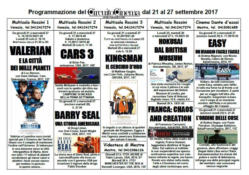 Programmazione dal 21 al 27 settembre 2017