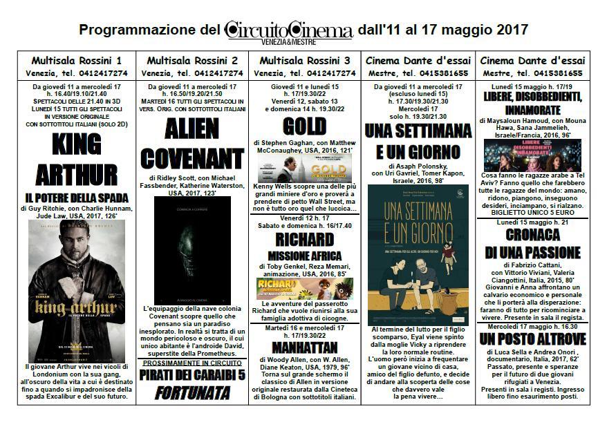 Circuito Cinema: programmazione dal 11 al 17 maggio 2017