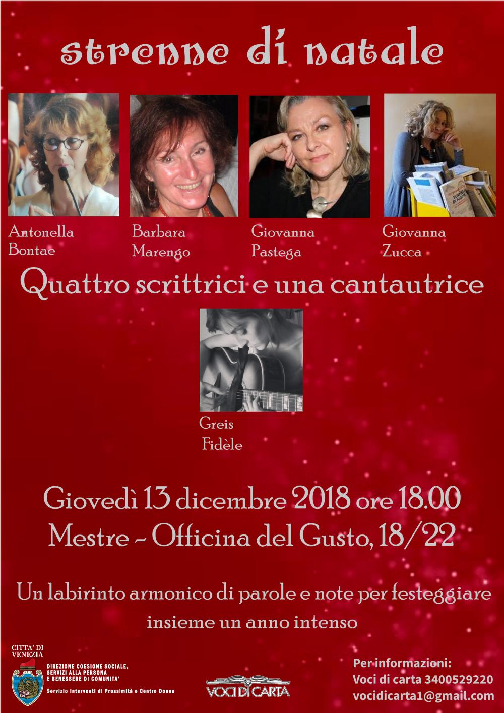Locandina evento Quattro scrittrici e una cantautrice