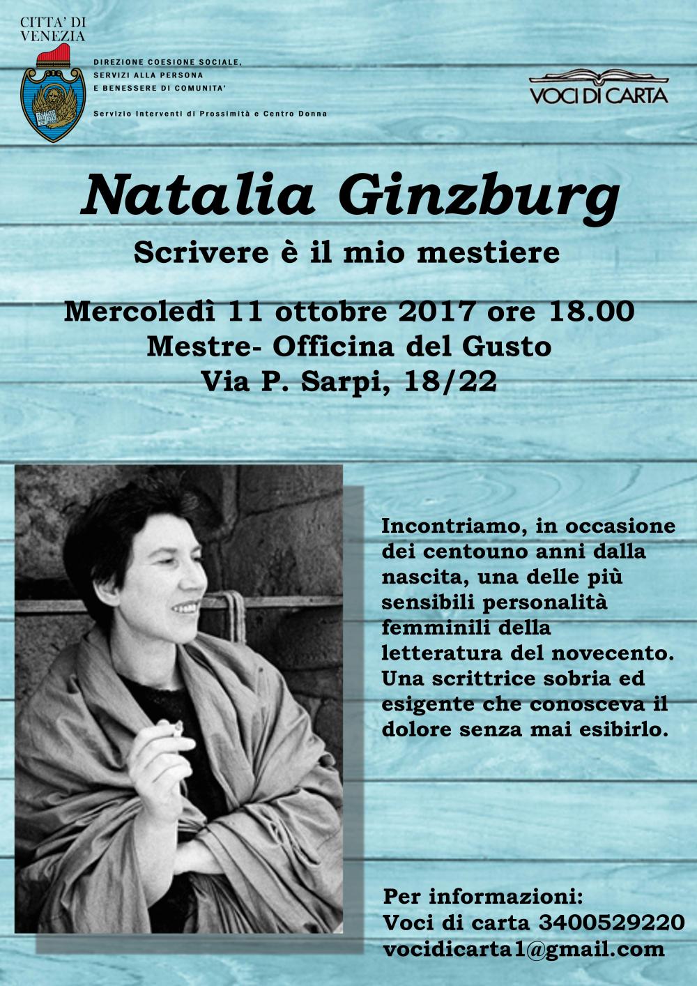Locandine reading aperto su Natalia Ginzburg