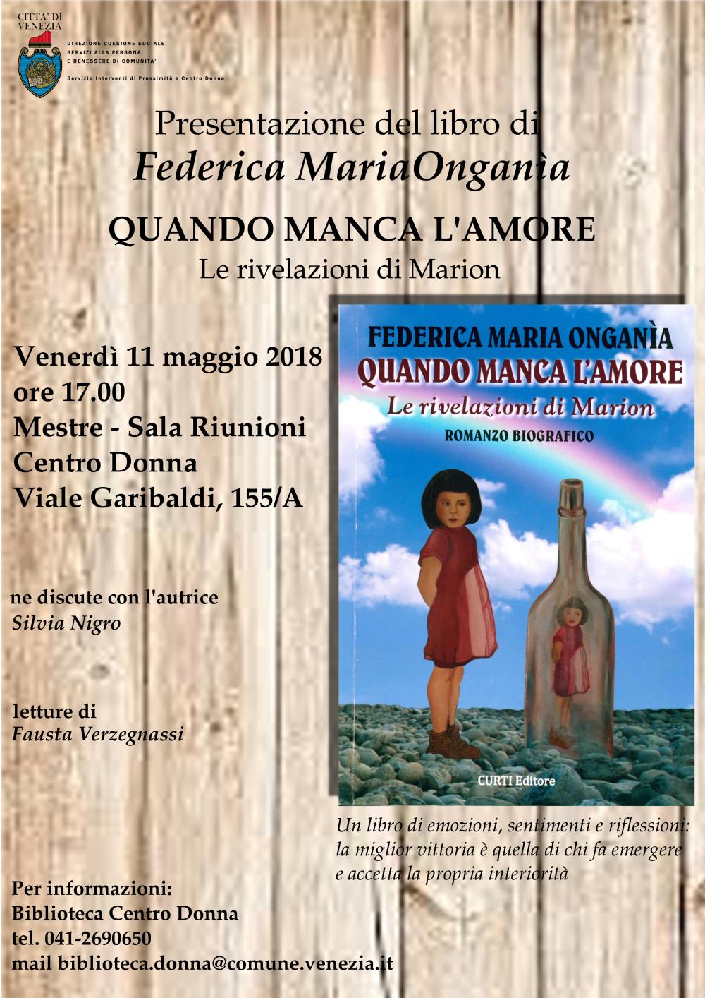 Locandina presentazione libro Federica Maria Ongania