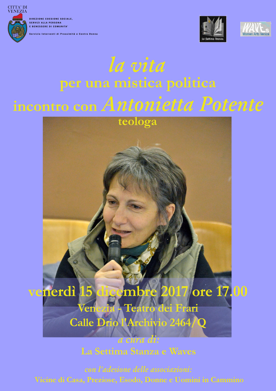 Locandina incontro con Antonietta Potente