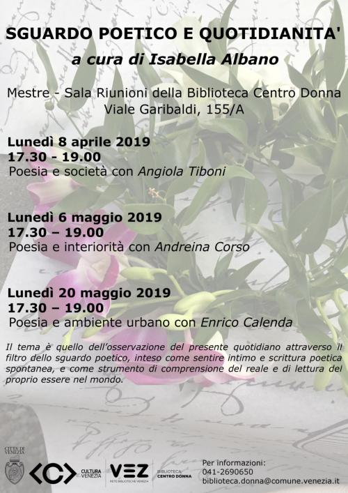 Locandina incontri Sguardo poetico e quotidianità_primavera
