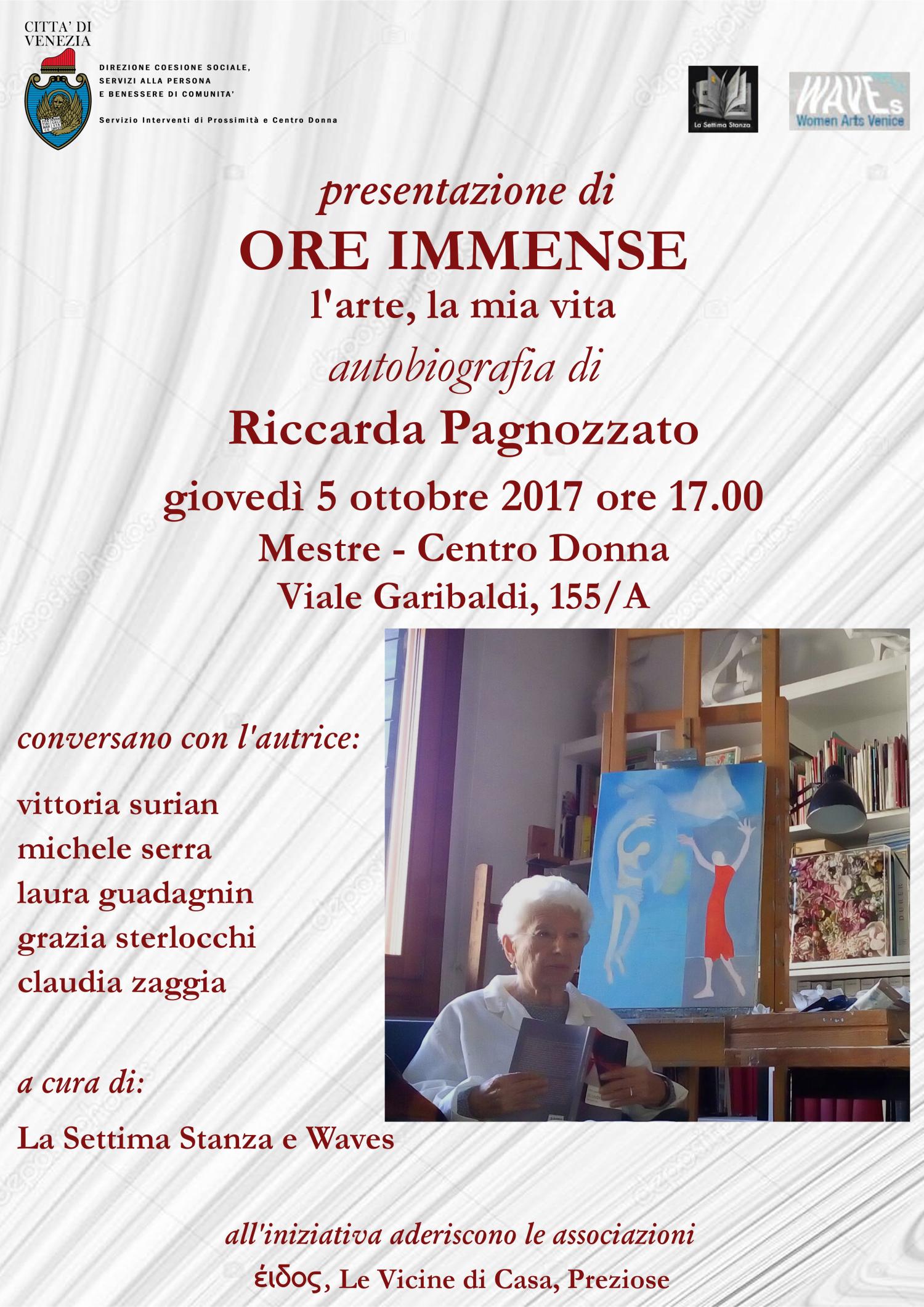 Locandina presentazione del libro di Riccarda Pagnozzato