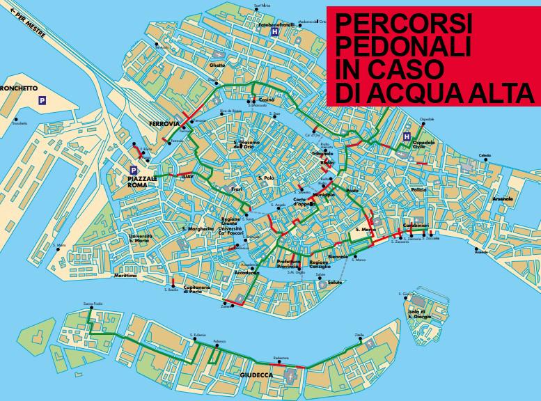 La mappa dei percorsi pedonali