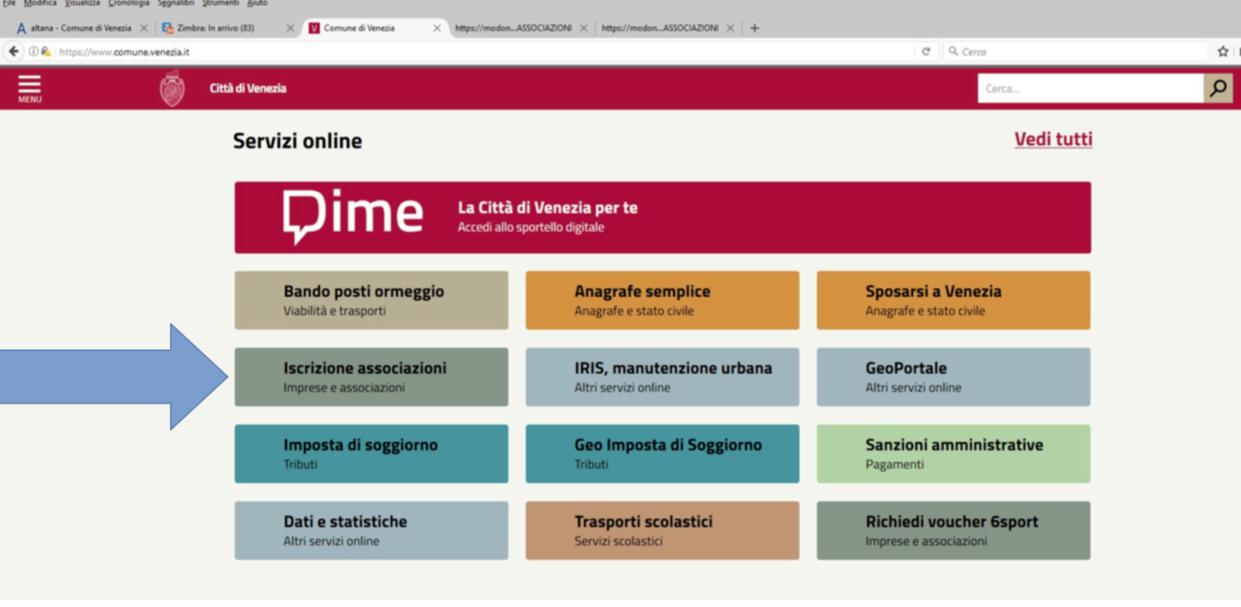 schermata homepage Comune di Venezia