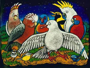 Disegno con pappagalli colorati