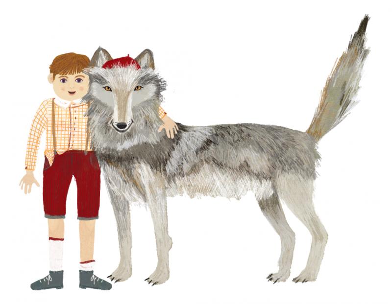 Disegno con Pierino e il lupo