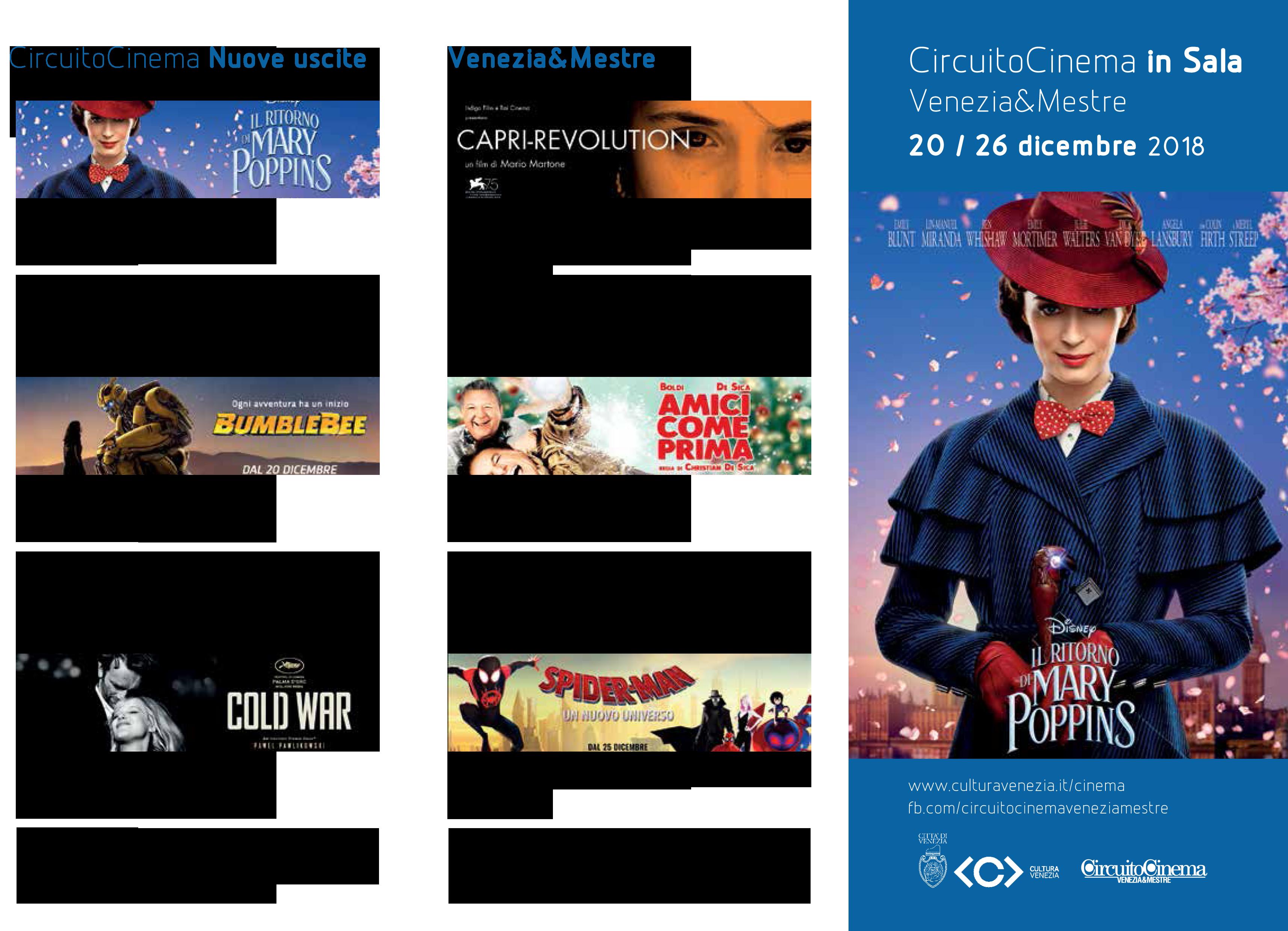 Film in programmazione dal 20 al 26 dicembre 2018 A