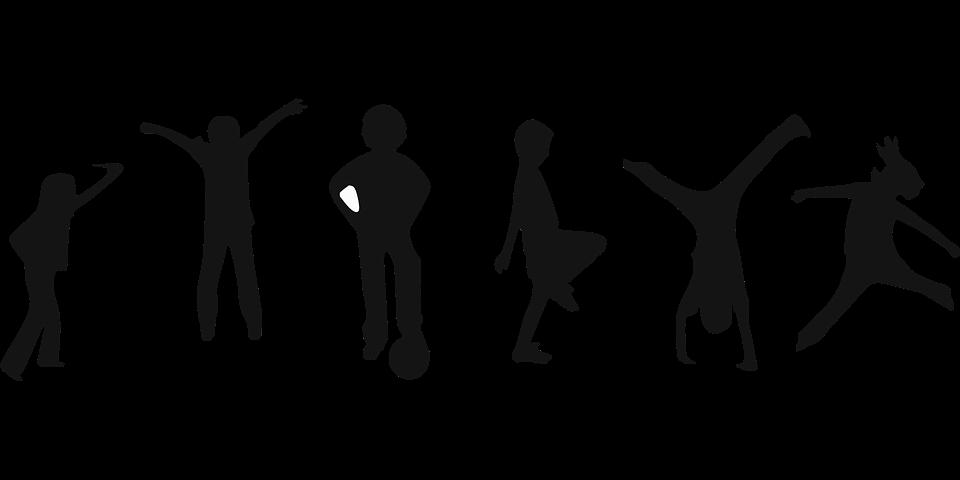 bambini stilizzati che fanno sport