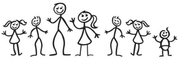 Disegno di una famiglia numerosa