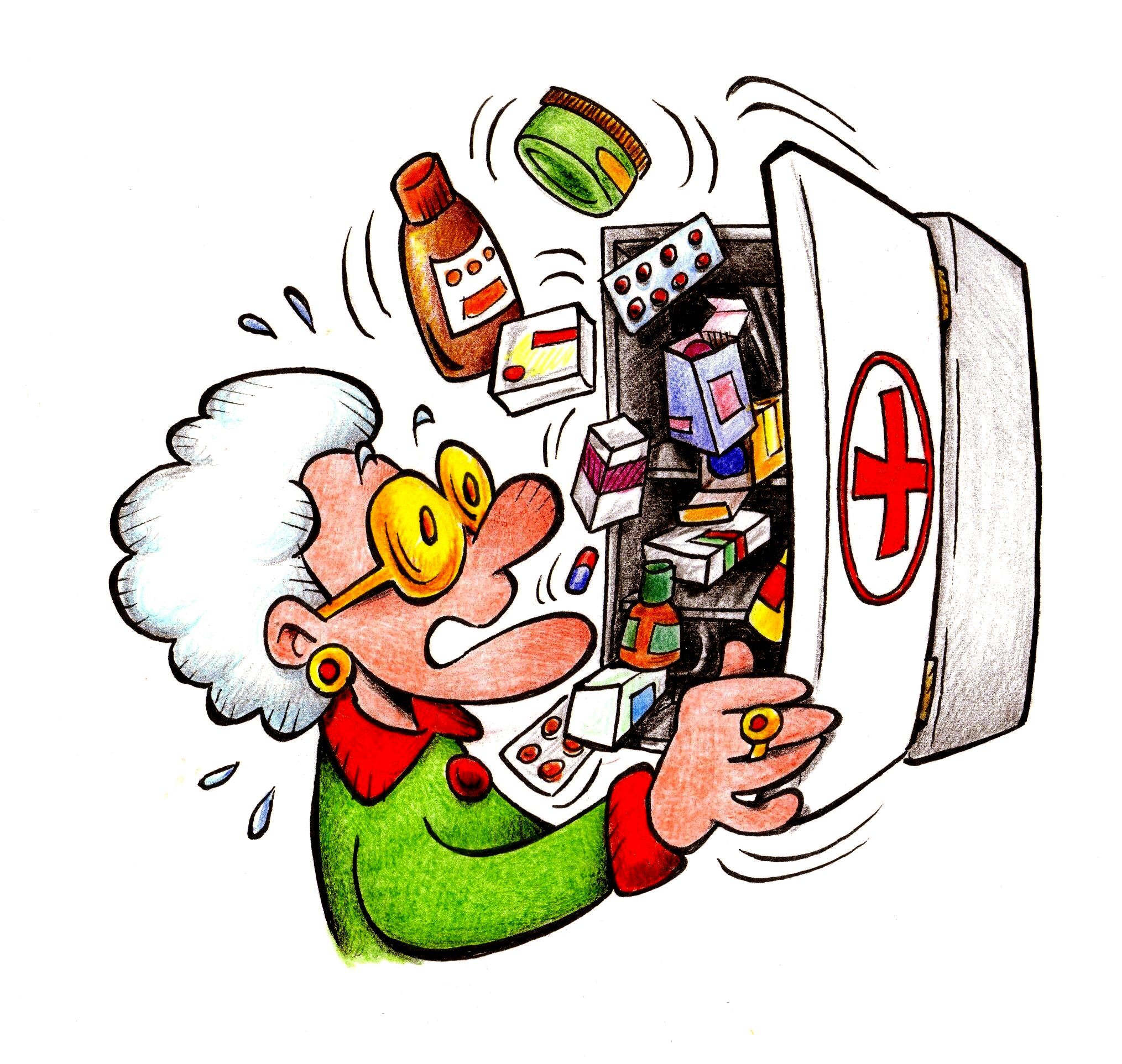 Anziano con armadietto farmaci