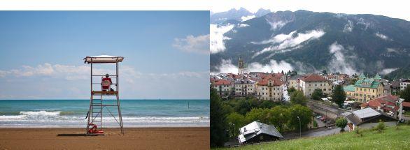 immagine di una spiaggia e di una località di montagna