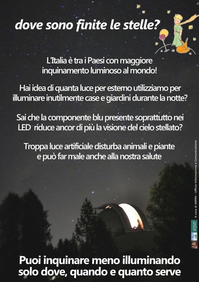 Infografica Arpav su inquinamento luminoso