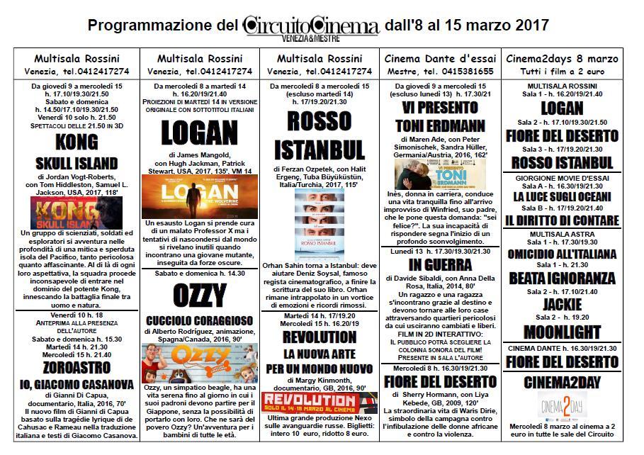 Locandina programmazione 8-15 marzo 2017