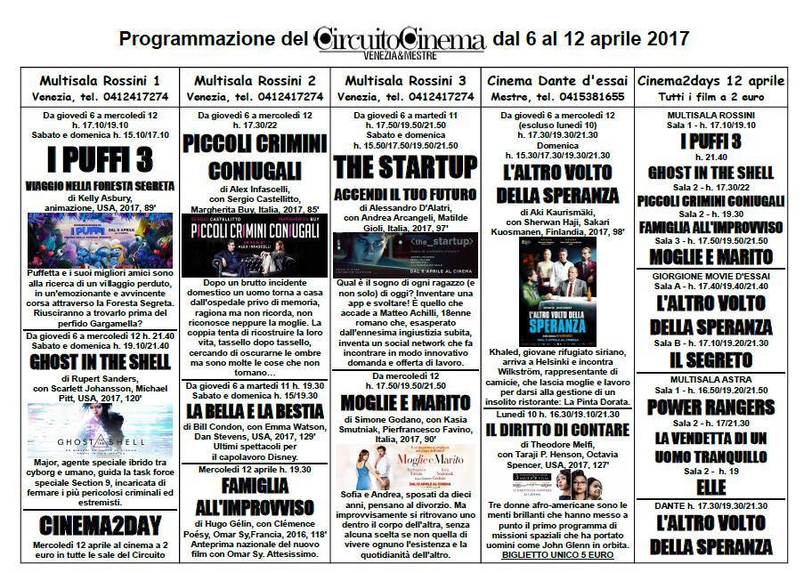 Locandina programmazione 6-12 aprile 2017