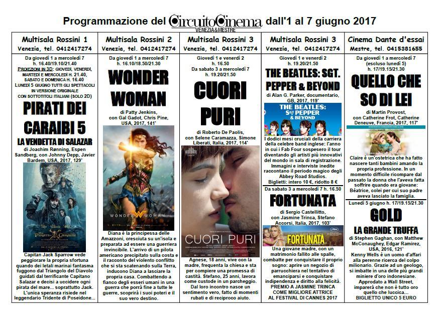 Locandina Programmazione dall'1 al 7 giugno 2017
