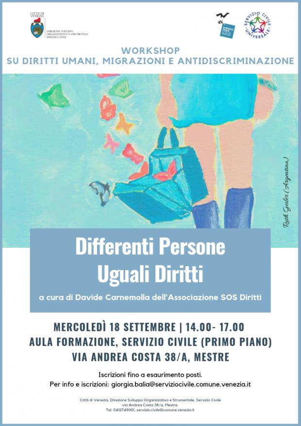 Locandina workshop: Differenti Persone, Uguali Diritti
